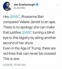 barr: Joe Scarborough  @JoeNBC  Hey @ABC, Roseanne Barr  compared Valerie Jarrett to an ape  There is no apology she can make  that justifies @ABC turning a blind  eye to this bigotry by airing another  second of her show.  Even in the Age of Trump, there are  red lines that can never be crossed.  This is one  5/29/18, 10:04 AM