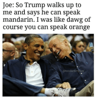 Memes, 🤖, and Joe: Joe: So Trump Walks up to  me and says he can speak  mandarin. I was like dawg of  course you can speak orange  atoodank my guy It's inauguration2017 @toodankmyguy we'll get through this together 😬😬😂 repost @toodankmyguy @toodankmyguy @toodankmyguy ⬅️⬅️ gofollow