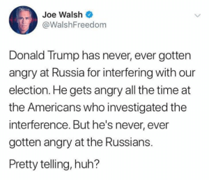 the americans: Joe Walsh  @WalshFreedom  Donald Trump has never, ever gotten  angry at Russia for interfering with our  election. He gets angry all the time at  the Americans who investigated the  interference. But he's never, ever  gotten angry at the Russians.  Pretty telling, huh?