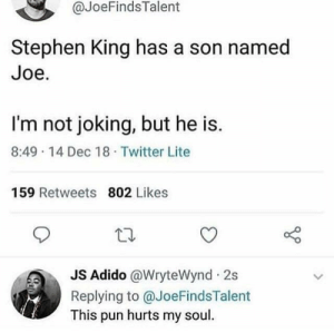 Dank, Memes, and Stephen: @JoeFindsTalent  Stephen King has a son named  Joe.  I'm not joking, but he is.  8:49 14 Dec 18 Twitter Lite  159 Retweets 802 Likes  Adido @WryteWynd 2s  Replying to @JoeFindsTalent  This pun hurts my soul It sure does by hass_bass MORE MEMES