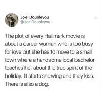 Tru.: Joel Doubleyou  @JoelDoubleyou  The plot of every Hallmark movie is  about a career woman who is too busy  for love but she has to move to a small  town where a handsome local bachelor  teaches her about the true spirit of the  holiday. It starts snowing and they kiss.  There is also a dog. Tru.