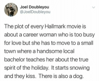 snowing: Joel Doubleyou  @JoelDoubleyou  The plot of every Hallmark movie is  about a career woman who is too busy  for love but she has to move to a small  town where a handsome local  bachelor teaches her about the true  spirit of the holiday. It starts snowing  and they kiss. There is also a dog.