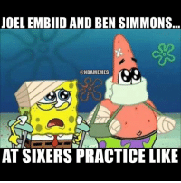 😂😂: JOEL EMBIID AND BEN SIMMONS  CONBAMEMES  AT SIXERS PRACTICE LIKE 😂😂