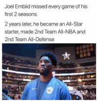All Star, Nba, and Respect: Joel Embiid missed every game of his  first 2 seasons  2 years later, he became an All-Star  starter, made 2nd Team All-NBA and  2nd Team All-Defense  0  Da  ers Respect ✊🏿