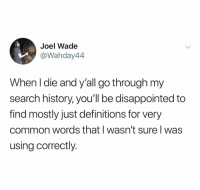 @joelthewade: Joel Wade  @Wahday44  When I die and y'all go through my  search history, you'll be disappointed to  find mostly just definitions for very  common words that I wasn't sure l was  using correctly. @joelthewade