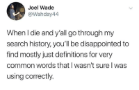definitions: Joel Wade  @Wahday44  When I die and y'all go through my  search history, you'll be disappointed to  find mostly just definitions for very  common words that I wasn't sure l was  using correctly.