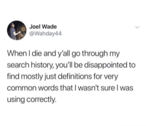 Disappointed, Common, and History: Joel Wade  @Wahday44  When I die and y'all go through my  search history, you'll be disappointed to  find mostly just definitions for very  common words that I wasn't sure l was  using correctly. meirl