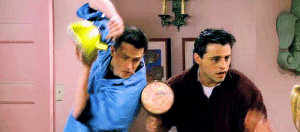 Tumblr, Http, and Tagged: joey/chandler + defending themselves with kitchenware