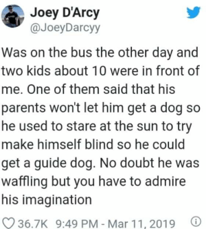 I mean, he would get a doggo as a reward for his stupidity: Joey D'Arcy  @JoeyDarcyy  Was on the bus the other day and  two kids about 10 were in front of  me. One of them said that his  parents won't let him get a dog so  he used to stare at the sun to try  make himself blind so he could  get a guide dog. No doubt he was  waffling but you have to admire  his imagination  O 36.7K 9:49 PM - Mar 11, 2019 I mean, he would get a doggo as a reward for his stupidity