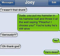 """😳😂😳: Joey  Edit  Messages  I wasn't that drunk  Dude, you put my hamster in  his hamster ball and threw it at  the wall saying """"Pikachu!  choose you!"""" You're lucky he's  still alive  Seriously!?  Oh thank god  He's dead 😳😂😳"""
