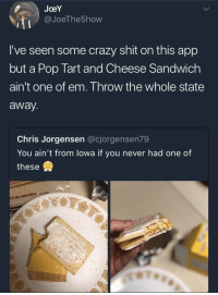 Crazy, Memes, and Pop: JoeY  @JoeThe5how  I've seen some crazy shit on this app  but a Pop Tart and Cheese Sandwich  ain't one of em. Throw the whole state  away  Chris Jorgensen @cjorgensen79  You ain't from lowa if you never had one of  these  (1181 Oh hell nah! 🤢😂 https://t.co/AoUvvzkggr