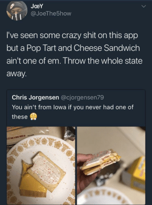 Crazy, Pop, and Shit: JoeY  @JoeThe5how  I've seen some crazy shit on this app  but a Pop Tart and Cheese Sandwich  ain't one of em. Throw the whole state  away.  Chris Jorgensen @cjorgensen79  You ain't from lowa if you never had one of  these Iowa's on a whole 'nother level