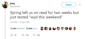 """Wyd, Spring, and Sunday: joey  @joeyassali  Follow  Spring left us on read for two weeks but  just texted """"wyd this weekend""""  3:20 PM-12 Apr 2018  13,483 Retweets 32,960 Likes And we all replied back right away just to get ghosted again on Sunday"""