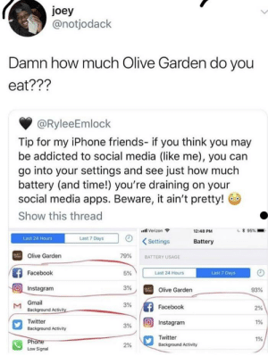Facebook, Friends, and Instagram: joey  @notjodack  Damn how much Olive Garden do you  eat???  @RyleeEmlock  Tip for my iPhone friends- if you think you may  be addicted to social media (like me), you can  go into your settings and see just how much  battery (and time!) you're draining on your  social media apps. Beware, it ain't pretty!  Show this thread  il Verizon  12:48 PM  Last 24 Hours  Last 7 Days  Settings  Battery  Olive Garden  79%  BATTERY USAGE  Facebook  5%  Last 24 Hours  Last 7 Days  Instagram  3%  Olive Garden  93%  Gmail  Background Activi  3%  Facebook  2%  Twitter  Background Activity  3%  O Instagram  1%  Twitter  Background Activity  1%  2%  Low Signal Unnecessary twitter caption. R/woosh?