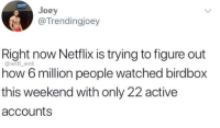 Netflix, Strong, and How: Joey  @Trendingjoey  Right now Netflix is trying to figure out  how 6 million people watched birdbox  this weekend with only 22 active  accounts  @will_ent Together we are strong 😂