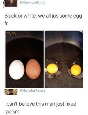Racism, Tumblr, and Black: @jOeymccullough  Black or white, we all jus some egg  fr  @NicholasPeters  I can't believe this man just fixed  racism dankmemesfromouterspace:Word