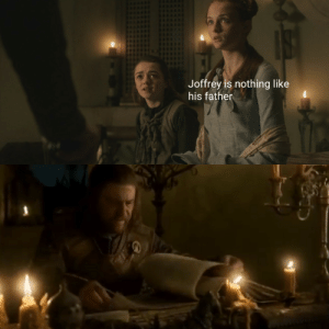 Game of Thrones, Tumblr, and Blog: Joffrey is nothing like  his father game-of-thrones-fans:  Only just noticed it was Sansa that gave the idea to Ned to look up Joffrey
