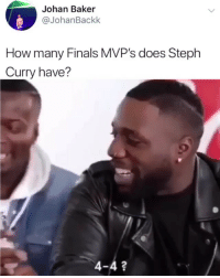 Y'all too savage for this 💀: Johan Baker  @JohanBackk  How many Finals MVP's does Steph  Curry have?  4-4? Y'all too savage for this 💀
