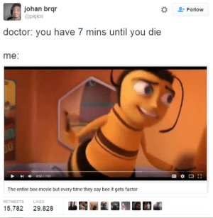 Bee Movie, Doctor, and Movie: johan brqr  @piglos  -Follow  doctor: you have 7 mins until you die  me:  0:52 / 7:00  The entire bee movie but every time they say bee it gets faster  RETWEETS  LIKES  15,782 29,828