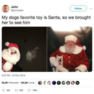 Happiness noises*: John  Follow  @jjmontaldo  My dogs favorite toy is Santa, so we brought  her to see him  6:23 PM - 22 Nov 2016  92,891 Retweets 158,261 Likes  t1 93K  645  158K Happiness noises*