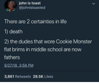 Should have stayed away from the cookie: john is toast  @johnistoasted  There are 2 certainties in life  1) death  2) the dudes that wore Cookie Monster  flat brims in middle school are now  fathers  8/27/18, 3:58 PM  3,861 Retweets 28.5K Likes Should have stayed away from the cookie