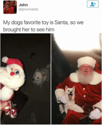 Dogs, Memes, and Santa: John  @jjmontaldo  My dogs favorite toy is Santa, so we  brought her to see him Add us on Snap 🅱️:  DankMemesGang
