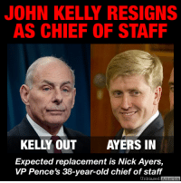 "America, Bad, and Bad Blood: JOHN KELLY RESIGNS  AS CHIEF OF STAFF  KELLY OUT  AYERS IN  Expected replacement is Nick Ayers,  vp Pence's 38-year-old chief of staff  Unbiased  America TRUMP SAYS CHIEF OF STAFF JOHN KELLY WILL LEAVE BY YEAR END By Kevin Ryan  White House Chief of Staff John Kelly is leaving the post by the end of the year, President Trump said today.  ""John Kelly will be leaving toward the end of the year,"" the president told reporters as he left the White House for the Army-Navy football game in Philadelphia.  ""John Kelly will be leaving – I don't know if I can say 'retiring.'""  Speculation about the move had increased recently as stories about bad blood between the president and Kelly emerged in recent weeeks.  Trump thanked the retiring Marine for his long years of public service, calling him ""a great guy.""  Kelly was brought in after Trump's first chief of staff, Reince Priebus, was let go after just 6 months on the job, the shortest stint on record.  Kelly initially brought stability to the administration, which had gotten off to a tumultuous start.  He was able to streamline Trump's schedule and squelch the flow of information that reached his desk – some of which was not vetted before it was repeated on the president's Twitter feed.   But the 68-year-old Kelly increasingly found himself sidelined by a president who chafed at being ""managed"" by others.  At one point, Trump mused about doing away with the chief of staff post altogether, and instead having the various department heads report to him directly. He reportedly told aides he was tired of being told ""no"" by Kelly.  Kelly's expected replacement is Nick Ayers, the young chief of staff to Vice President Mike Pence.  Axios reported yesterday what administration insiders have said for weeks: Ayers will likely take over for Kelly whenever he leaves.  A source also confirmed to DailyMail.com that Ayers is the president's choice to succeed him.  The president has been telling people and has been for the past several days to call Ayers, if they have a request.  The position of chief of staff, while considered the most senior White House position after the President and Vice President, is not a legally required role and does not require Senate confirmation.  The position is the successor to the earlier role of the President's private secretary.  SOURCES: https://www.usatoday.com/story/news/politics/2018/12/08/john-kelly-out-donald-trump-chief-staff/339220002/  https://www.dailymail.co.uk/news/article-6471487/White-House-Chief-Staff-John-Kelly-expected-RESIGN-soon-Trump-stopped-speaking-him.html"