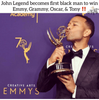 Friends, John Legend, and Memes: John Legend becomes first black man to win  Emmy, Grammy, Oscar, & Tony !I  Academu  CRE  T S  CREATIVE ARTS  EM MYS 🤯 congratulations to johnlegend 🔥 Follow @bars for more ➡️ DM 5 FRIENDS