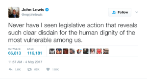 Wow, Never, and Human: John Lewis  @repjohnlewis  Follow  Never have l seen legislative action that reveals  such clear disdain for the human dignity of the  most vulnerable among us.  RETWEETS LIKES  66,813 116,181  11:57 AM-4 May 2017  1.6K67K116K BUT NO, REALLY: REP. JOHN LEWIS WOW