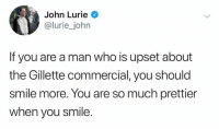 smile more: John Lurie  @lurie_john  If you are a man who is upset about  the Gillette commercial, you should  smile more. You are so much prettier  when you smile.