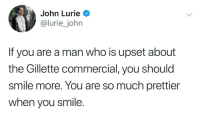 Smile more: John Lurie  lurie_john  If you are a man who is upset about  the Gillette commercial, you should  smile more. You are so much prettier  when you smile. Smile more