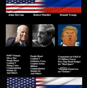 """The Most Anti-American President: John McCain  Robert Mueller  Donald Trump  POW Vietnam  Silver Star  Purple Heart  Combat  Flying Cross  Commendation  Medals (2)  And Others  Purple Heart  Combat V  Gallantry Cross  Combat Action  Ribbon  Commendation  Medals (2)  And Others  Commander-in-Chief of  US Military Forces  Five Time Draft Dodger  for """"Heel Spurs""""  walt ferit  """"Sleeping around was  my Vietnam."""" The Most Anti-American President"""