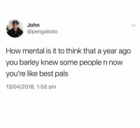 Memes, Squad, and Best: John  @pengakoto  How mental is it to think that a year ago  you barley knew some people n now  you're like best pals  13/04/2018, 1:58 pm Old squad or new squad?
