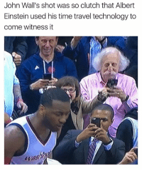 Albert Einstein, Basketball, and Daquan: John Wall's shot was so clutch that Albert  Einstein used his time travel technology to  come witness it lmao😂 via @daquan nbamemes nba johnwall wizards nbaplayoffs