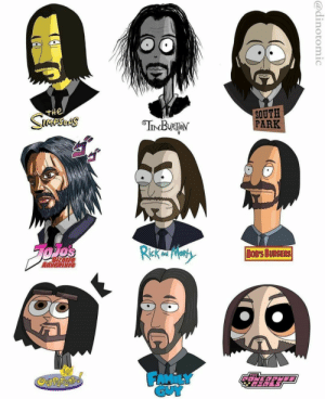 John Wick in different cartoon styles: John Wick in different cartoon styles