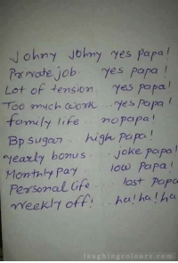 "Working Logo Ki Yahi Kahaani...  :(: John y Johny yes papa  Po imate job  ""Yes Papa  Lot of tension  'yes papa  Too much ozhk fes Papa  family life mo Papa  Bp sugar high papa  yearly bonus  Joke papa  Monthly pay low Papa  Pearson al Cife lost Papa  meekl off, hci ha ha  laughing colo  u r s com Working Logo Ki Yahi Kahaani...  :("