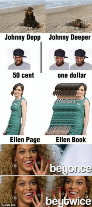 50 Cent, 9gag, and Johnny Depp: Johnny Depp  Johnny Deeper  50 cent  one dollar  Ellen Page  Ellen Book  beutwice  VIA 9GAG.COM These are getting savage
