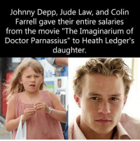 """Doctor, Johnny Depp, and Memes: Johnny Depp, Jude Law, and Colin  Farrell gave their entire salaries  from the movie """"The Imaginarium of  Doctor Parnassius"""" to Heath Ledger's  daughter."""