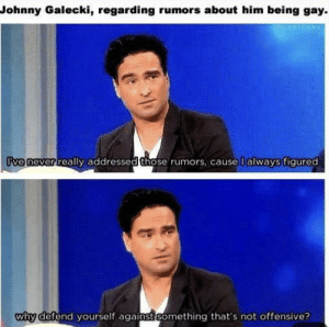 Aww Leonard!: Johnny Galecki, regarding rumors about him being gay  ive never really addressed those rumors, cause I always figured  why defend vourself against Something that's not offensive? Aww Leonard!
