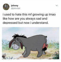 Ass, Growing Up, and Memes: johnny  @johntaii  i used to hate this mf growing up lmado  like how are you always sad and  depressed but now i understand You'd be depressed too if someone nailed a shitty tail to your ass.