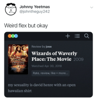 Flexing, Weird, and Movie: Johnny Yeetmas  @johntheguy242  Weird flex but okay  Review by jose  Wizards of Waverly  Wizards Place: The Movie 2009  THIE MOVIE Watched Apr 30, 2018  OF WAVERLY PIACE  Rate, review, like +more...  my sexuality is david henre with an open  hawaiian shirt