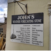 How to be a meteorologist.: JOHN'S  WEATHER FORECASTING STONE  CONDITION FORECAST  Rain  Not Raining  Sunny  Snowing  Stone is Wet  Stone is Dry  Shadow on Ground  White on Top  Can't See Stone Foggy  Swinging Stone Windy  e Jumping Up & Down Earthquake  Stone Gone Tornado How to be a meteorologist.