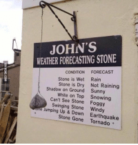 RT @JustHadOneJob: Greatest weather device ever: JOHN'S  WEATHER FORECASTING STONE  CONDITION  FORECAST  Stone is Wet Rain  Stone is Dry Not Raining  Shadow on Ground Sunny  White on Top Snowing  Can't see Stone Foggy  le Swinging Stone Windy  Jumping Up & Down  Stone Gone Earthquake RT @JustHadOneJob: Greatest weather device ever