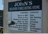 Spot a genius here. Follow @9gag for more funny memes. 9gag weather clever: JOHN'S  WEATHER FORECASTING STONE  CONDITION FORECAST  Stone is Wet Rain  Stone is Dry Not Raining  Shadow on Ground  Sunny  Snowing  White on Top  Can't See Stone Foggy  Swinging Stone Windy  Stone Jumping Up & Down Earthquake  Stone Gone Tornado Spot a genius here. Follow @9gag for more funny memes. 9gag weather clever
