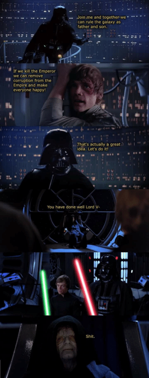 Empire, Shit, and Happy: Join me and together we  can rule the galaxy as  father and son.  If we kill the Emperor  we can remove  corruption from the  Empire and make  everyone happy!  That's actually a great  idea. Let's do it!  You have done well Lord V-  Shit. HISHE