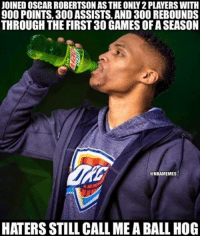 🐸 ☕️: JOINED OSCAR ROBERTSON ASTHE ONLY 2PLAYERS WITH  900 POINTS, 300 ASSISTS AND 300 REBOUNDS  THROUGH THE FIRST 30 GAMES OFASEASON  @NBAMEMES  HATERS STILL CALL MEABALL HOG 🐸 ☕️