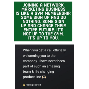 A wild hun appeared on my IG. She's been advertising her optijava for months... I guess someone finally fell for it...: JOINING A NETWORK  MARKETING BUSINESS  IS LIKE A GYM MEMBERSHIP  SOME SIGN UP AND D0  NOTHING. SOME SIGN  UP AND CHANGE THEIR  ENTIRE FUTURE. IT'S  NOT UP TO THE GYM  IT'S UP TO YOU  When you get a call officially  welcoming you to the  company. I have never been  part of such an amazing  team & life changing  product line  feeling excited A wild hun appeared on my IG. She's been advertising her optijava for months... I guess someone finally fell for it...