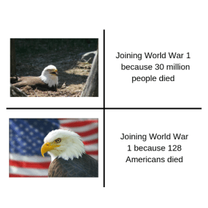 World, World War 1, and War: Joining World War1  because 30 million  people died  Joining World War  1 because 128  Americans died Merica