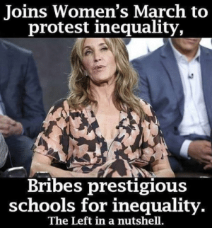Prestigious: Joins Women's March to  protest inequality,  Bribes prestigious  schools for inequality  The Left in a nutshell.