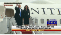 WATCH: President-elect DonaldTrump, MelaniaTrump and family arrive in Washington, D.C. ahead of the inauguration. Trump45: JOINT BASE ANDREWS  12:17 PM ET  AN IT  DENTI  23:42:45  HRS  MAIN  SEC  LIVE COVERAGE  PRESIDENT ELECT TRUMP ARRIVES IN WASHINGTON  AHEAD OF TOMORROWIS INAUGURATION  FOX NEWSALERT WATCH: President-elect DonaldTrump, MelaniaTrump and family arrive in Washington, D.C. ahead of the inauguration. Trump45